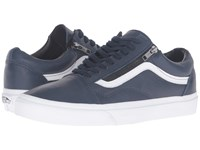 Vans Old Skool Zip Antique Leather Dress Blues True White Skate Shoes