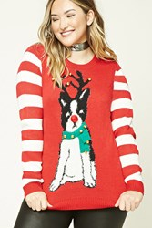 Forever 21 Plus Size Jingle Bell Sweater Red White