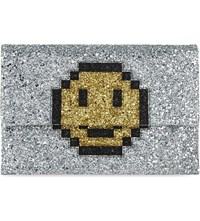 Anya Hindmarch Smiley Valorie Pixel Suede Glitter Clutch Silver