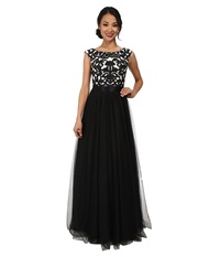 Aidan Mattox Embroid Ball Gown Black Ivory Women's Dress