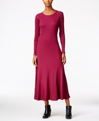 G.H. Bass And Co. Waffle Knit Maxi Dress Plum Gem