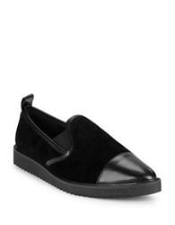 Karl Lagerfeld Cler8 Leather And Suede Loafers Black