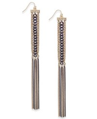 Thalia Sodi Gold Tone And Jet Chain Drop Earrings Only At Macy's Black