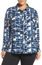 Sejour Plus Size Women's Collared Peplum Blouse Ivory Blue Blurry Print