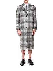 Thom Browne Windowpane Check Wool Overcoat Grey Multi