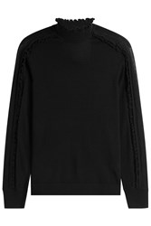 Paule Ka Turtleneck With Ruffle Trim Black