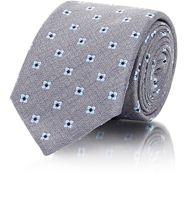 Barneys New York Men's Medallion Pattern Necktie Grey