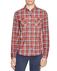 Superdry Grindlesawn Plaid Regular Fit Button Down Shirt Post It Red