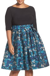 Adrianna Papell Plus Size Women's Jersey And Jacquard Fit And Flare Dress