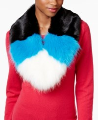 Betsey Johnson Xox Trolls Faux Fur Colorblocked Muffler Only At Macy's Blue