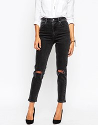 Asos Farleigh High Waist Slim Mom Jeans In Washed Black With Busted Knees Washedblack