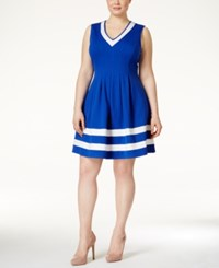 Monteau Plus Size Striped Skater Dress Royal Ivory
