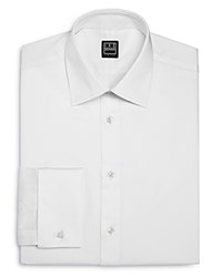 Ike Behar Solid Poplin French Cuff Regular Fit Dress Shirt White