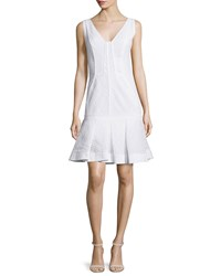 J. Mendel Sleeveless Pleated Hem Dress Ecru
