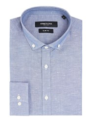 Kenneth Cole Men's Marc Textured Shirt With Cutaway Collar Blue