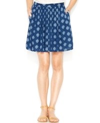 Lucky Brand Printed A Line Skirt Blue Multi