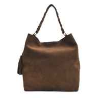Vanessa Bruno Pompon Leather Velvet Hobo