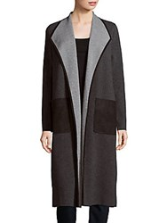 Lafayette 148 New York Open Front Wool Blend Coat Smoke