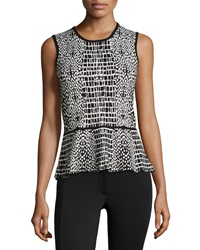Liquid By Sioni Sleeveless Printed Top W Peplum Black White