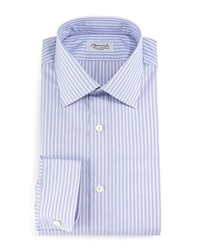 Charvet Striped Barrel Cuff Dress Shirt Purple