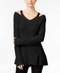 Styleandco. Style Co. Petite High Low Cutout Sweater Only At Macy's Deep Black