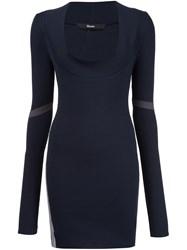 Musee Shawl Collar Fitted Dress Blue