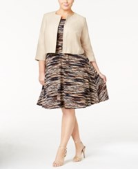 Jessica Howard Plus Size Belted A Line Dress And Faux Suede Jacket Brown Khaki