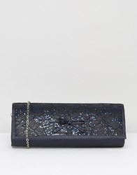 Lotus Karolina Satin Emboridered Clutch Bag Navy Satin