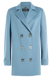 Salvatore Ferragamo Wool Coat Blue