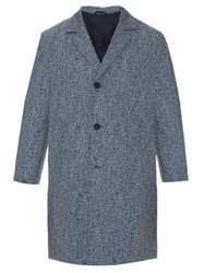 Raey Notch Lapel Crosshatch Overcoat Navy Multi