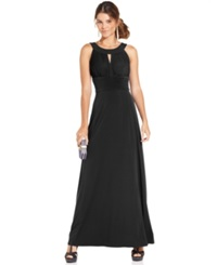 Sangria Sleeveless Keyhole Gown Black