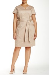 Short Sleeve Belted Dress Plus Size Beige