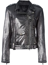 Htc Hollywood Trading Company Eyelet Embellished Biker Jacket Metallic