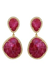 Susan Hanover Women's Semiprecious Stone Drop Earrings Fuchsia Gold