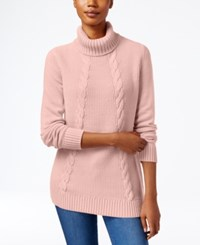 Karen Scott Cable Knit Turtleneck Sweater Only At Macy's Tea Rose