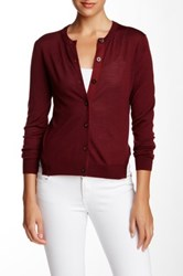 Marc By Marc Jacobs Pinstripe Wool Blend Cardigan Red