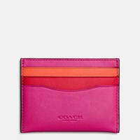 Coach Flat Card Case In Colorblock Glovetanned Leather Dk Cerise Red Vintage Orange