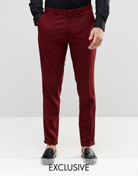 Only And Sons Skinny Smart Trousers With Stretch Turn Up Burgundy Red