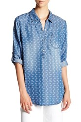 Want And Need Printed Roll Tab Chambray Blouse Blue