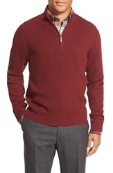 Men's Big And Tall Nordstrom Cotton And Cashmere Rib Knit Sweater Burgundy Spice
