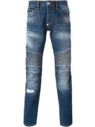Philipp Plein Panelled Slim Fit Jeans Blue