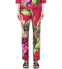 F.R.S. For Restless Sleepers Tropical Print Silk Trousers Green