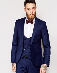 Noose And Monkey Navy Flannel Suit Jacket In Skinny Fit