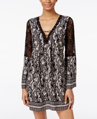Trixxi Juniors' Printed Crochet Trim Lace Up Peasant Dress Black White