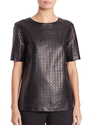 Lafayette 148 New York Rylan Leather Blouse Black