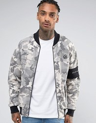 Criminal Damage Jersey Bomber Jacket In Grey Camo With Arm Band Grey