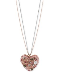 Betsey Johnson Rose Gold Tone Colorful Crystal Vintage Heart Pendant Necklace Pink