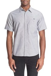 White Mountaineering Trim Fit Short Sleeve Oxford Shirt Gray