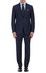 Ermenegildo Zegna Men's Mila Pinstriped Wool Two Button Suit Navy