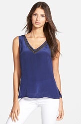 Plenty By Tracy Reese Embellished V Neck Tank Indigo